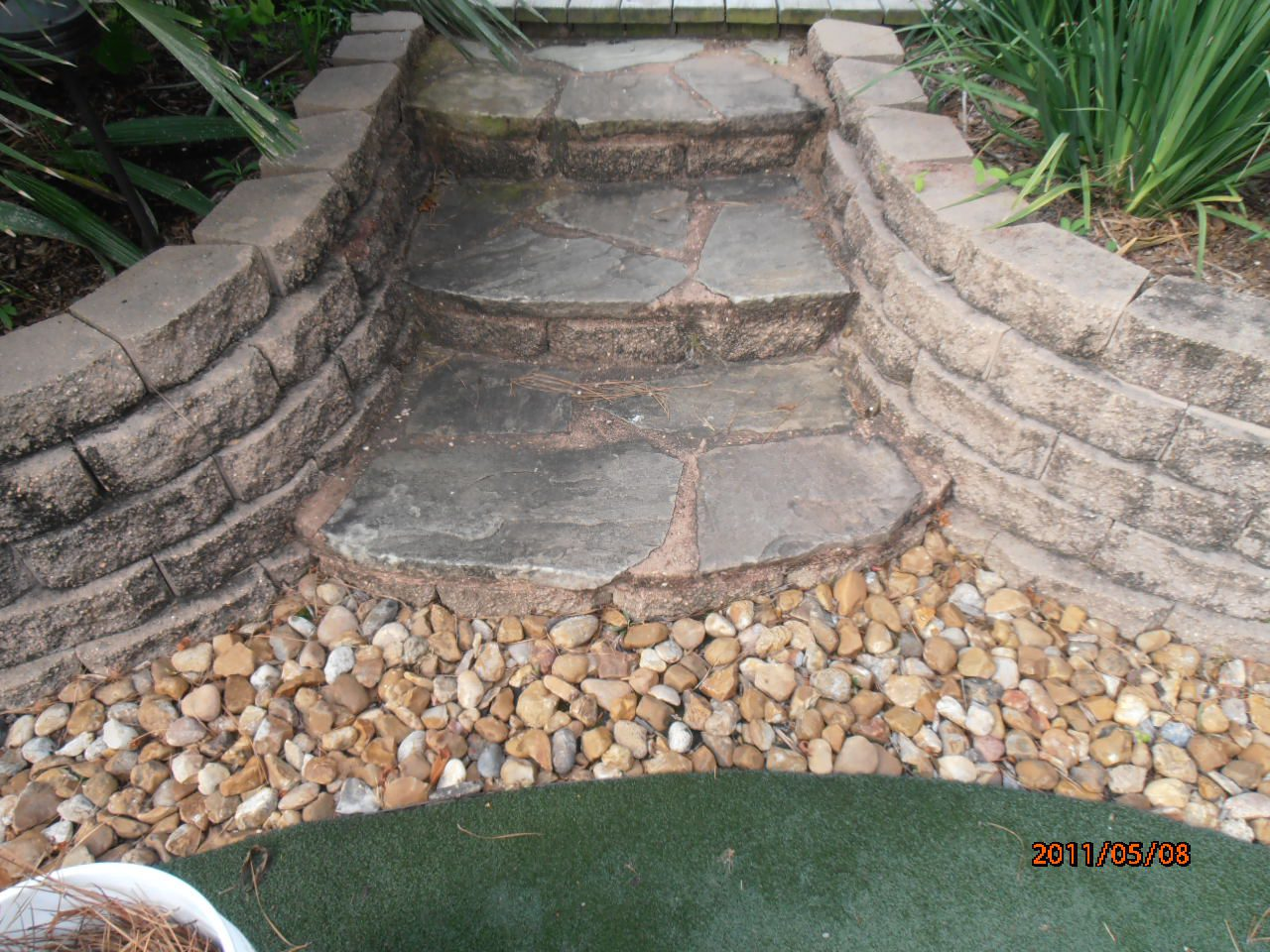 before cleaning masonry steps
