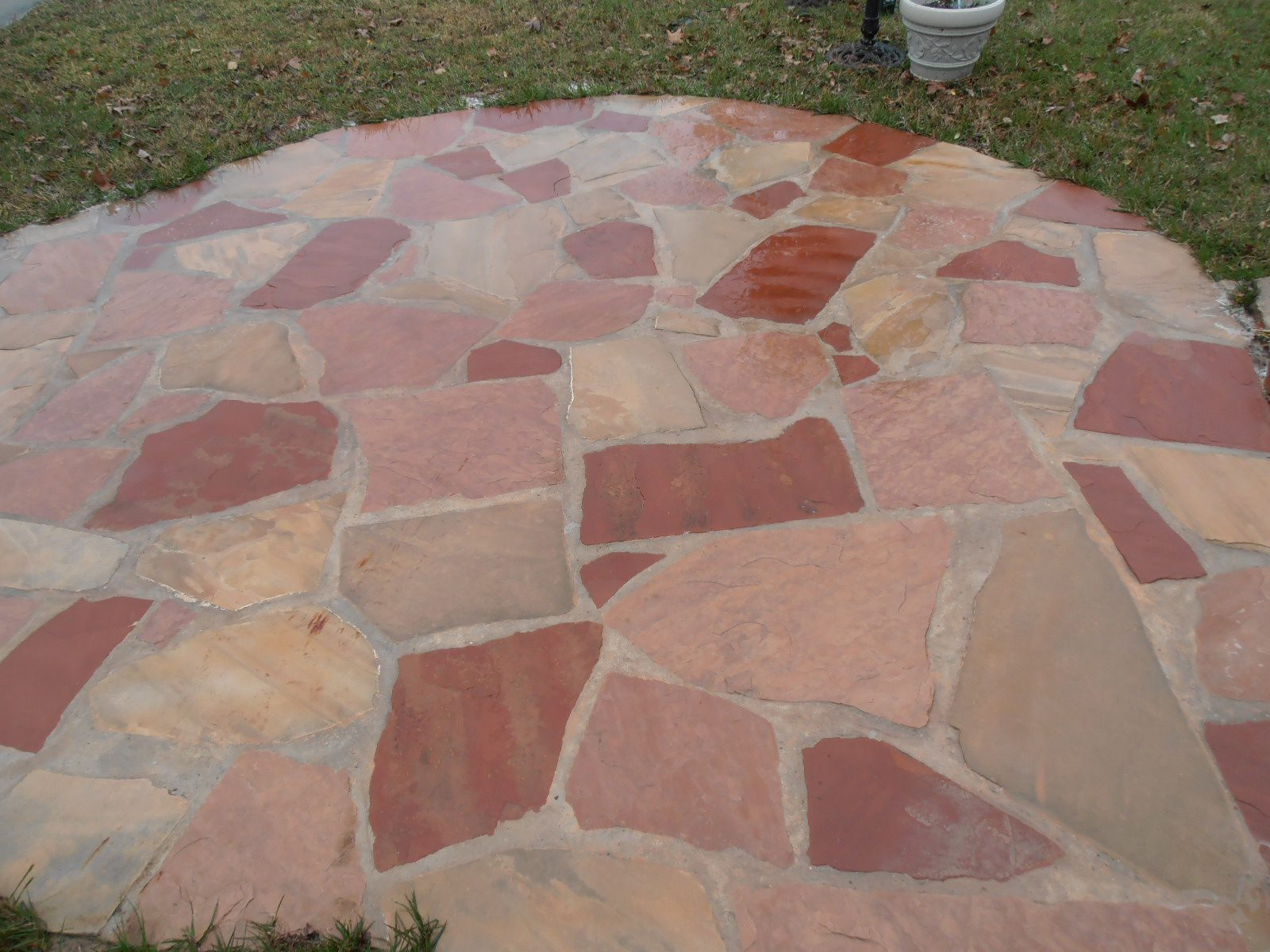 Stone patio after cleaning